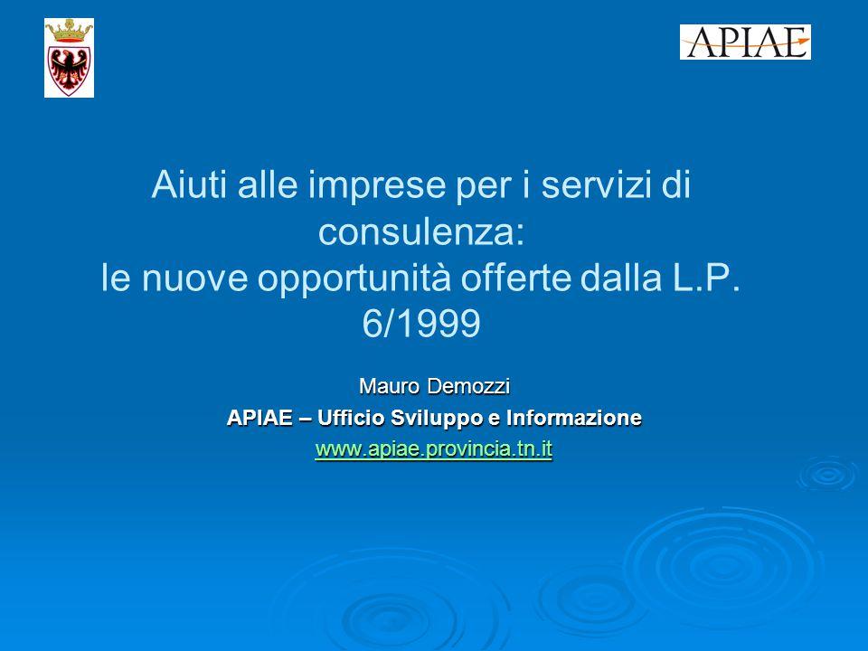 Aiuti alle imprese per i servizi di consulenza: le nuove opportunità offerte dalla L.P.