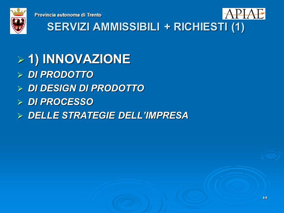 1414 SERVIZI AMMISSIBILI + RICHIESTI (1)  1) INNOVAZIONE  DI PRODOTTO  DI DESIGN DI PRODOTTO  DI PROCESSO  DELLE STRATEGIE DELL'IMPRESA Provincia autonoma di Trento
