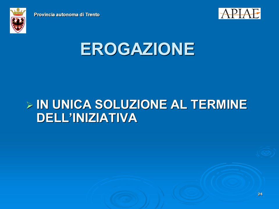 2424 EROGAZIONE  IN UNICA SOLUZIONE AL TERMINE DELL'INIZIATIVA Provincia autonoma di Trento