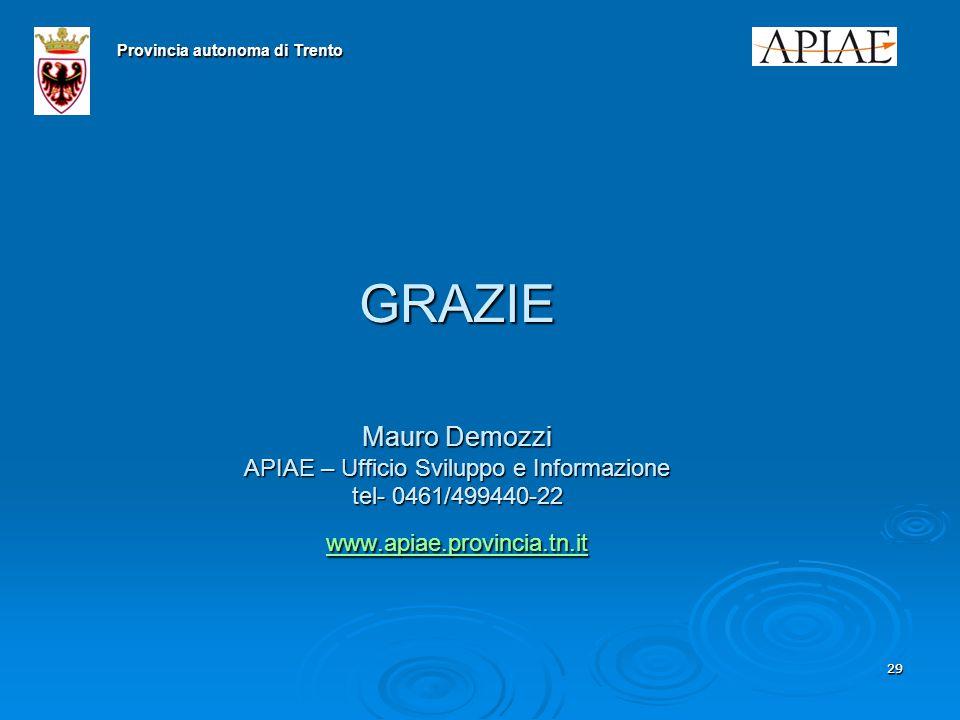 2929 GRAZIE Mauro Demozzi APIAE – Ufficio Sviluppo e Informazione tel- 0461/499440-22 www.apiae.provincia.tn.it www.apiae.provincia.tn.it Provincia autonoma di Trento