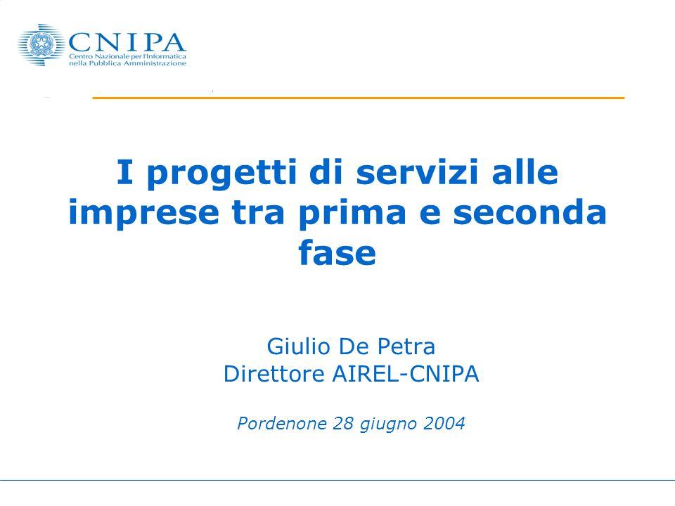 I progetti di servizi alle imprese tra prima e seconda fase Giulio De Petra Direttore AIREL-CNIPA Pordenone 28 giugno 2004