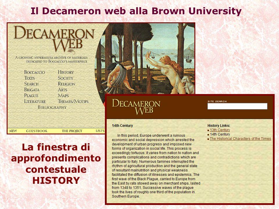Il Decameron web alla Brown University La finestra di approfondimento contestuale HISTORY