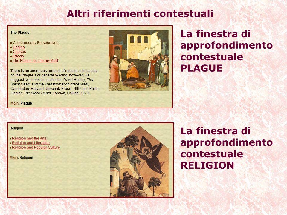 Altri riferimenti contestuali La finestra di approfondimento contestuale PLAGUE La finestra di approfondimento contestuale RELIGION