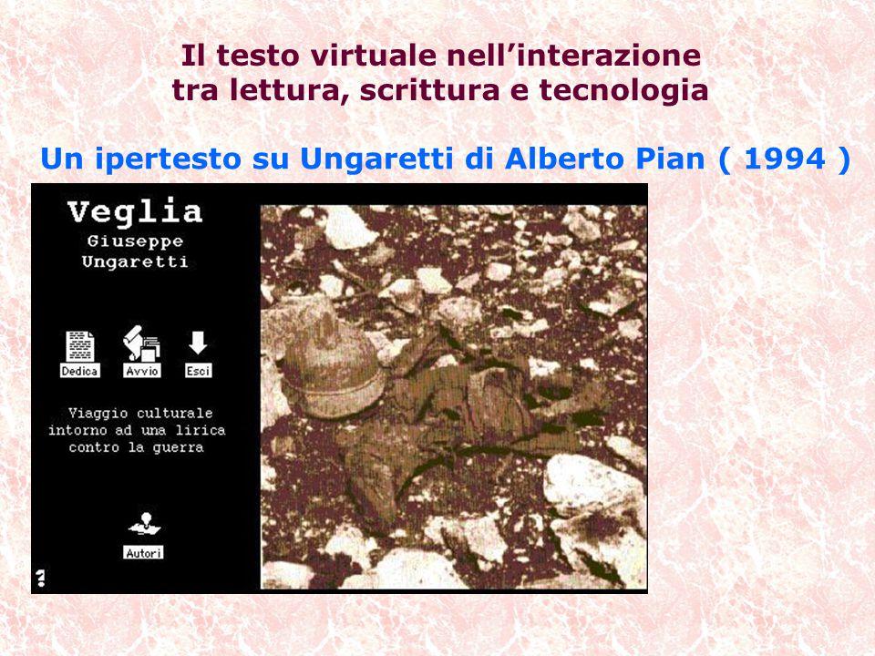 Un ipertesto su Ungaretti di Alberto Pian ( 1994 ) Il testo virtuale nell'interazione tra lettura, scrittura e tecnologia