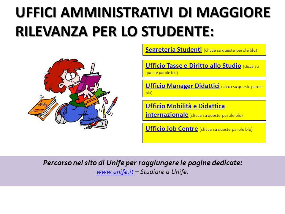 UFFICI AMMINISTRATIVI DI MAGGIORE RILEVANZA PER LO STUDENTE: Percorso nel sito di Unife per raggiungere le pagine dedicate: www.unife.itwww.unife.it –