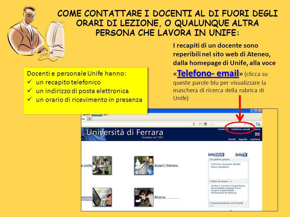 Telefono- email Telefono- email I recapiti di un docente sono reperibili nel sito web di Ateneo, dalla homepage di Unife, alla voce « Telefono- email