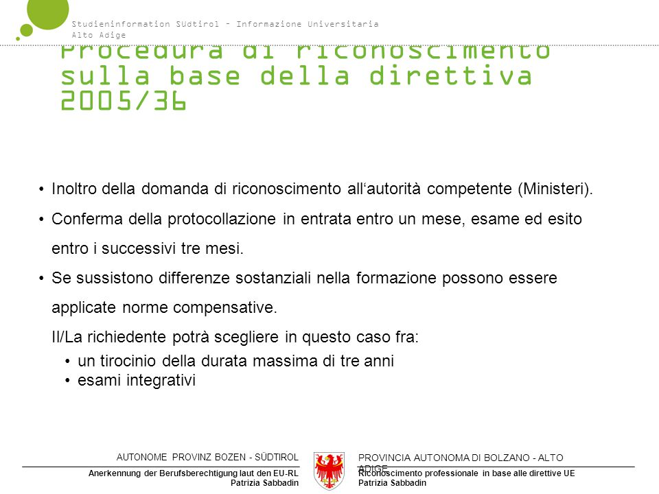 Riconoscimento professionale in base alle direttive UE Patrizia Sabbadin Anerkennung der Berufsberechtigung laut den EU-RL Patrizia Sabbadin Procedura