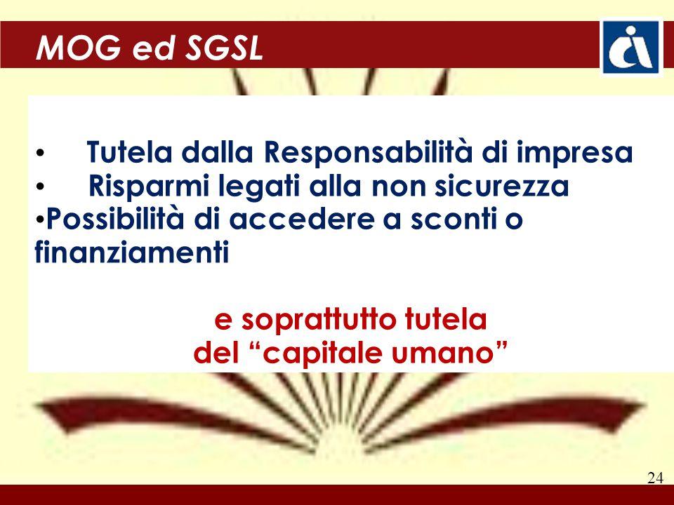 24 MOG ed SGSL Tutela dalla Responsabilità di impresa Risparmi legati alla non sicurezza Possibilità di accedere a sconti o finanziamenti e soprattutto tutela del capitale umano