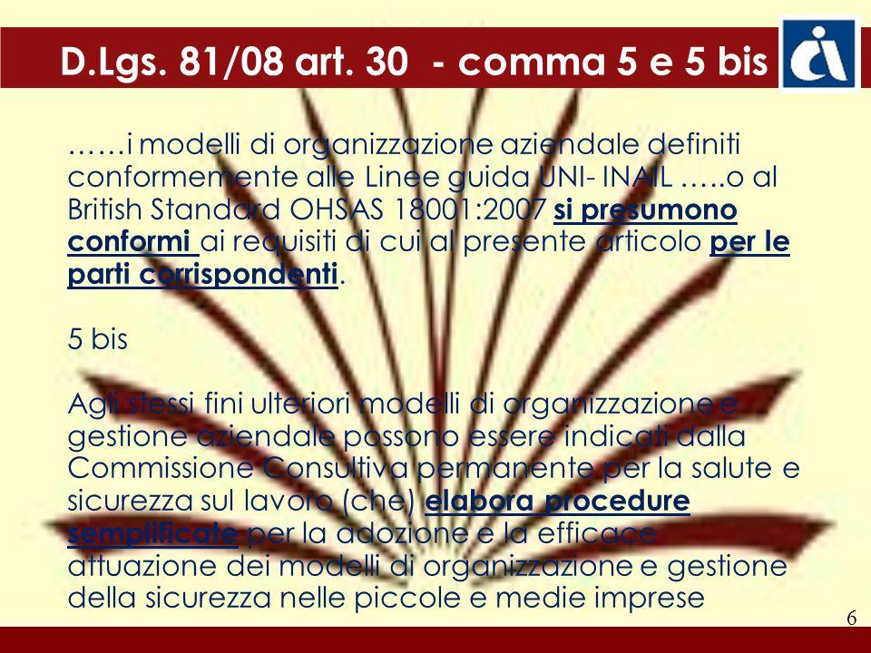 6 D.Lgs. 81/08 art. 30 - comma 5 e 5 bis ……i modelli di organizzazione aziendale definiti conformemente alle Linee guida UNI- INAIL …..o al British St