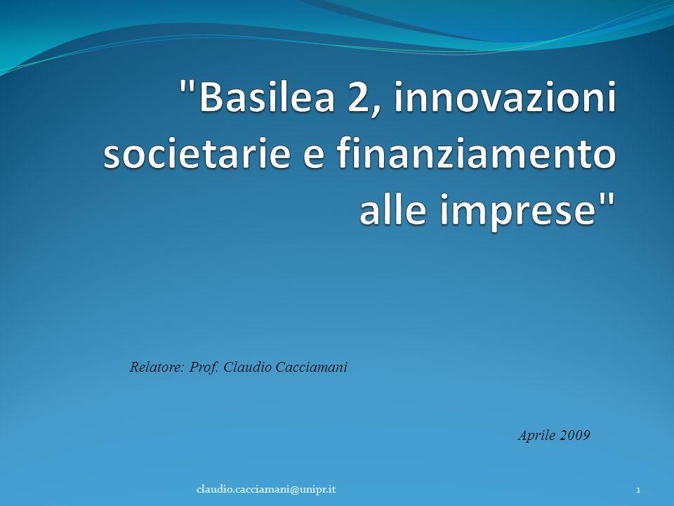 Relatore: Prof. Claudio Cacciamani Aprile 2009 1claudio.cacciamani@unipr.it