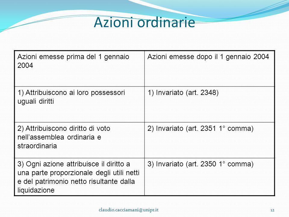 Azioni ordinarie Azioni emesse prima del 1 gennaio 2004 Azioni emesse dopo il 1 gennaio 2004 1) Attribuiscono ai loro possessori uguali diritti 1) Inv
