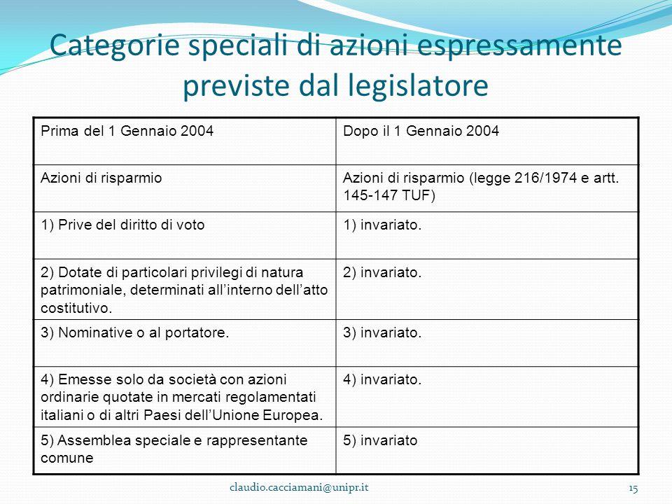 Categorie speciali di azioni espressamente previste dal legislatore Prima del 1 Gennaio 2004Dopo il 1 Gennaio 2004 Azioni di risparmioAzioni di rispar