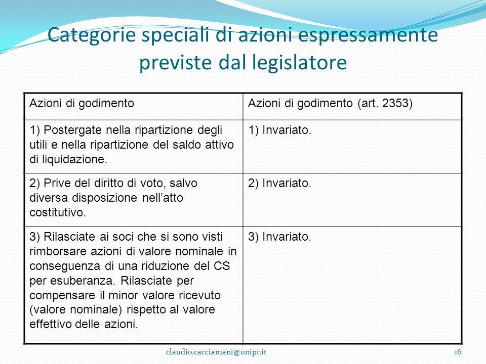 Categorie speciali di azioni espressamente previste dal legislatore Azioni di godimentoAzioni di godimento (art. 2353) 1) Postergate nella ripartizion