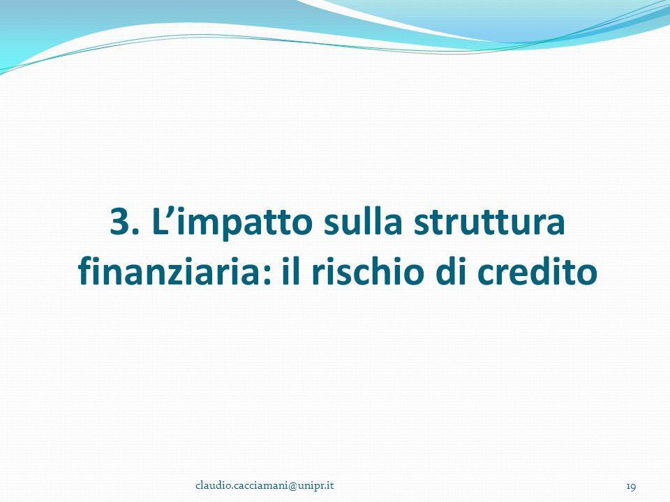 3. L'impatto sulla struttura finanziaria: il rischio di credito 19claudio.cacciamani@unipr.it