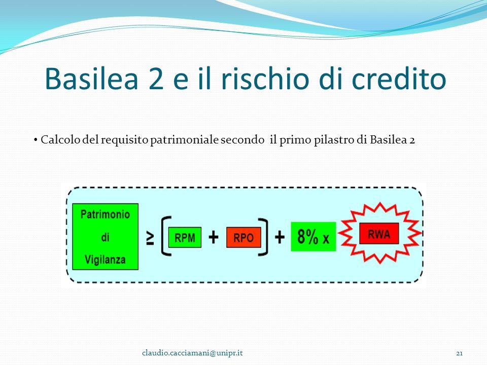 Basilea 2 e il rischio di credito 21 Calcolo del requisito patrimoniale secondo il primo pilastro di Basilea 2 claudio.cacciamani@unipr.it