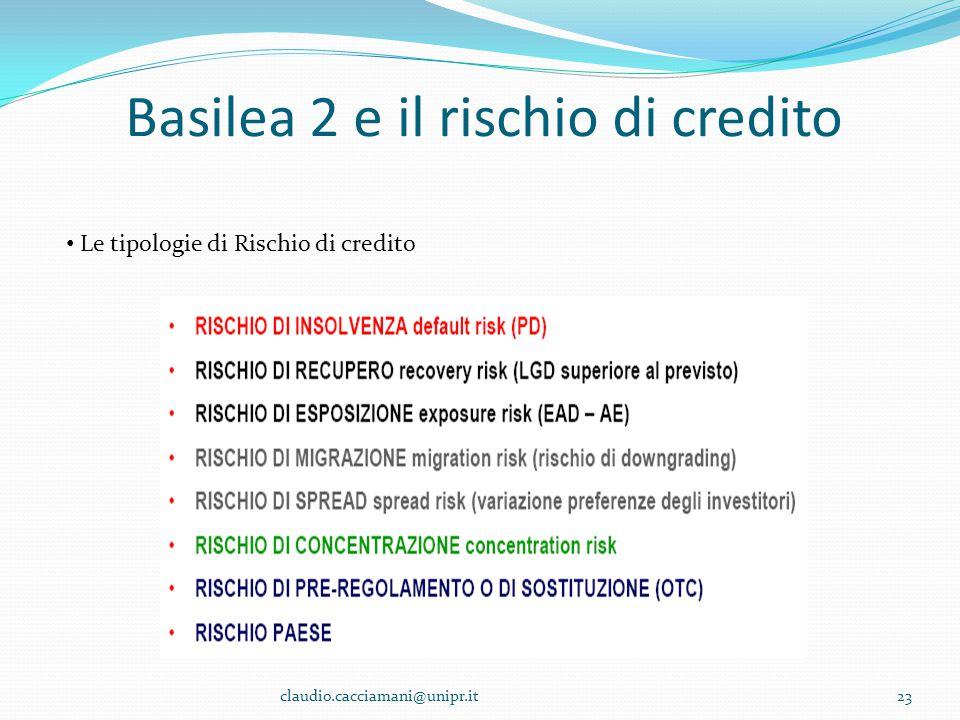 Basilea 2 e il rischio di credito 23 Le tipologie di Rischio di credito claudio.cacciamani@unipr.it