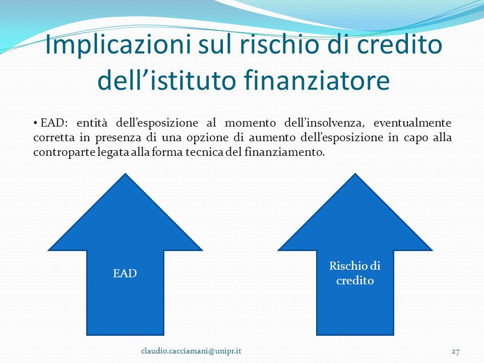Implicazioni sul rischio di credito dell'istituto finanziatore claudio.cacciamani@unipr.it27 EAD: entità dell'esposizione al momento dell'insolvenza,
