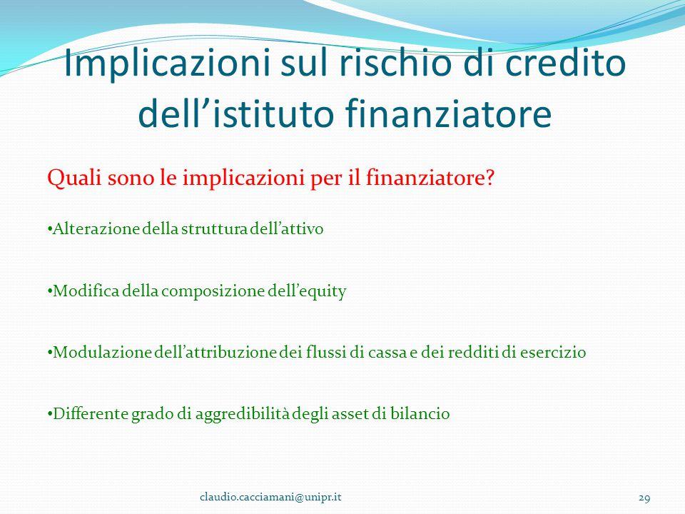 Implicazioni sul rischio di credito dell'istituto finanziatore claudio.cacciamani@unipr.it29 Quali sono le implicazioni per il finanziatore? Alterazio