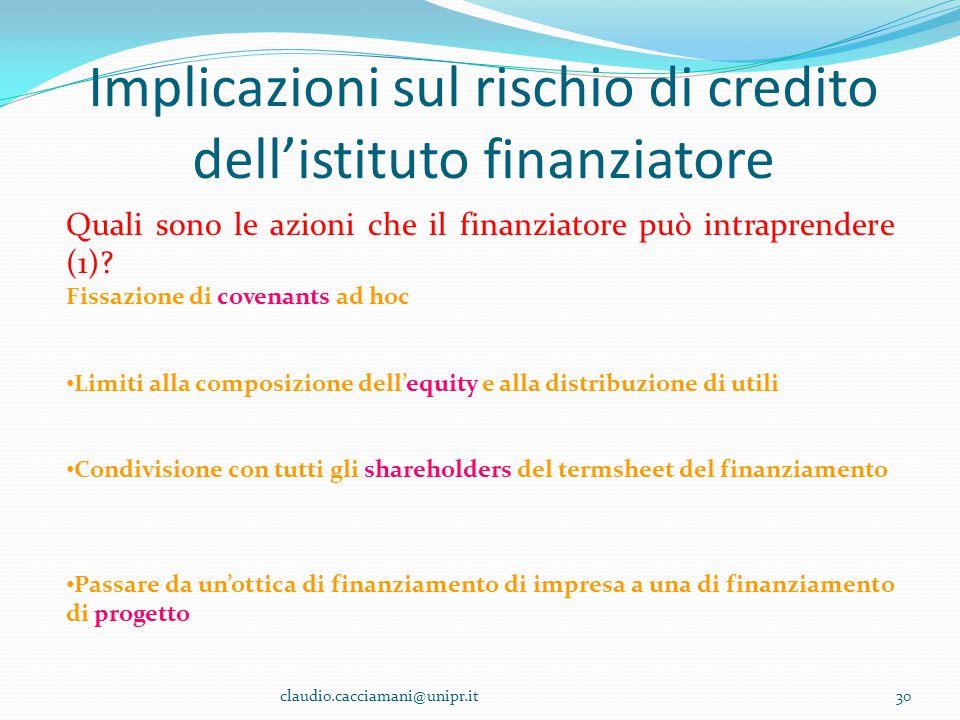 Implicazioni sul rischio di credito dell'istituto finanziatore claudio.cacciamani@unipr.it30 Quali sono le azioni che il finanziatore può intraprender