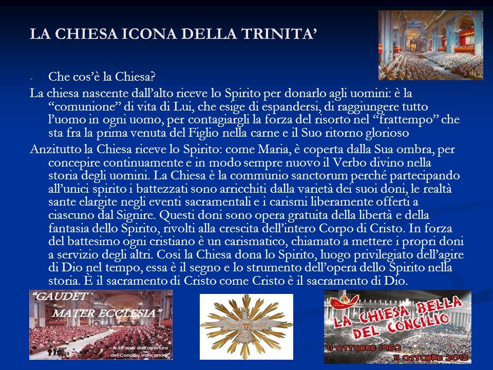 """LA CHIESA ICONA DELLA TRINITA' - - Che cos'è la Chiesa? La chiesa nascente dall'alto riceve lo Spirito per donarlo agli uomini: è la """"comunione"""" di vi"""