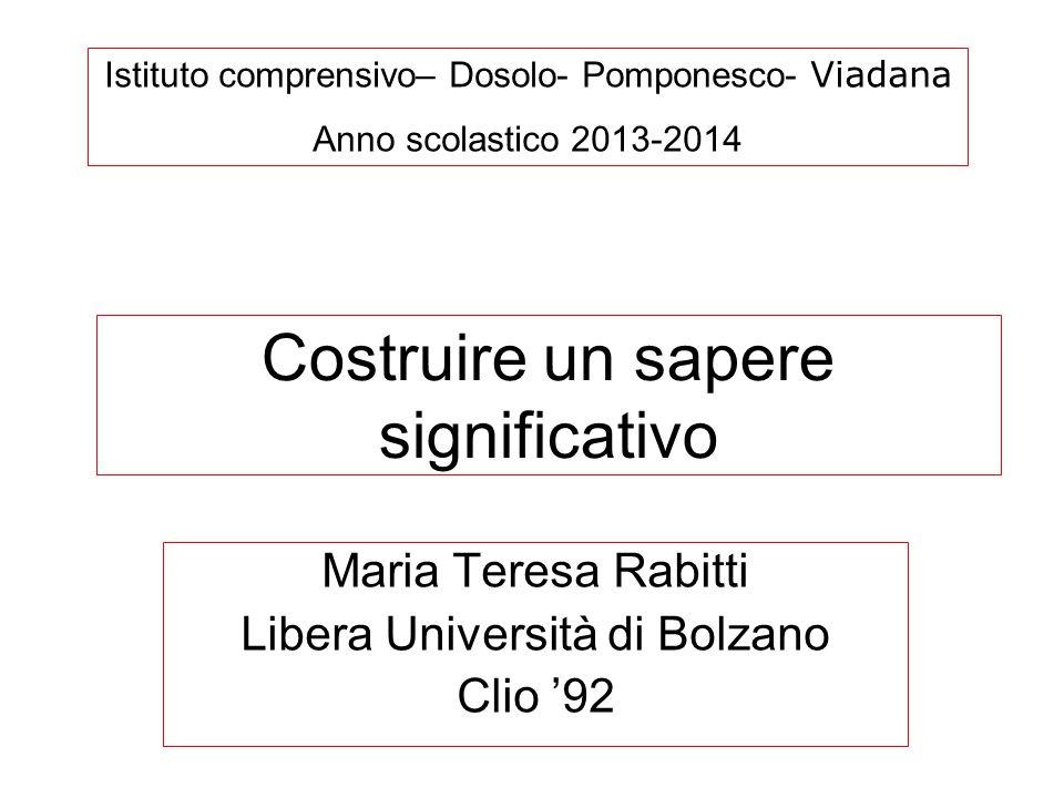 Costruire un sapere significativo Istituto comprensivo– Dosolo- Pomponesco- Viadana Anno scolastico 2013-2014 Maria Teresa Rabitti Libera Università d