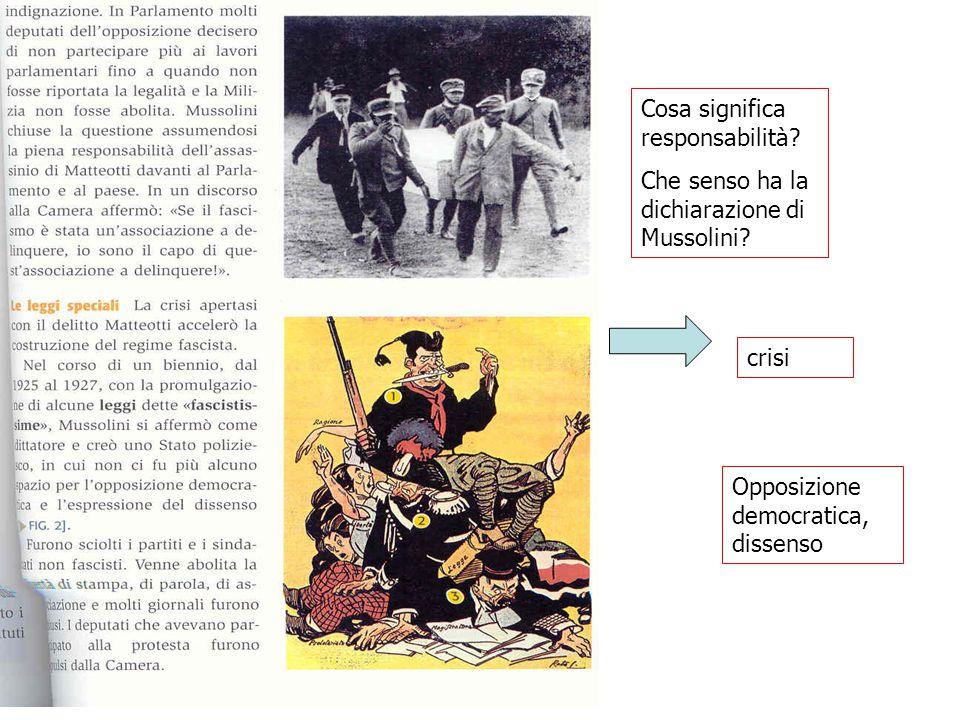 crisi Opposizione democratica, dissenso Cosa significa responsabilità? Che senso ha la dichiarazione di Mussolini?