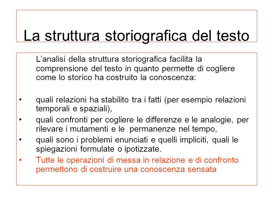 La struttura storiografica del testo L'analisi della struttura storiografica facilita la comprensione del testo in quanto permette di cogliere come lo