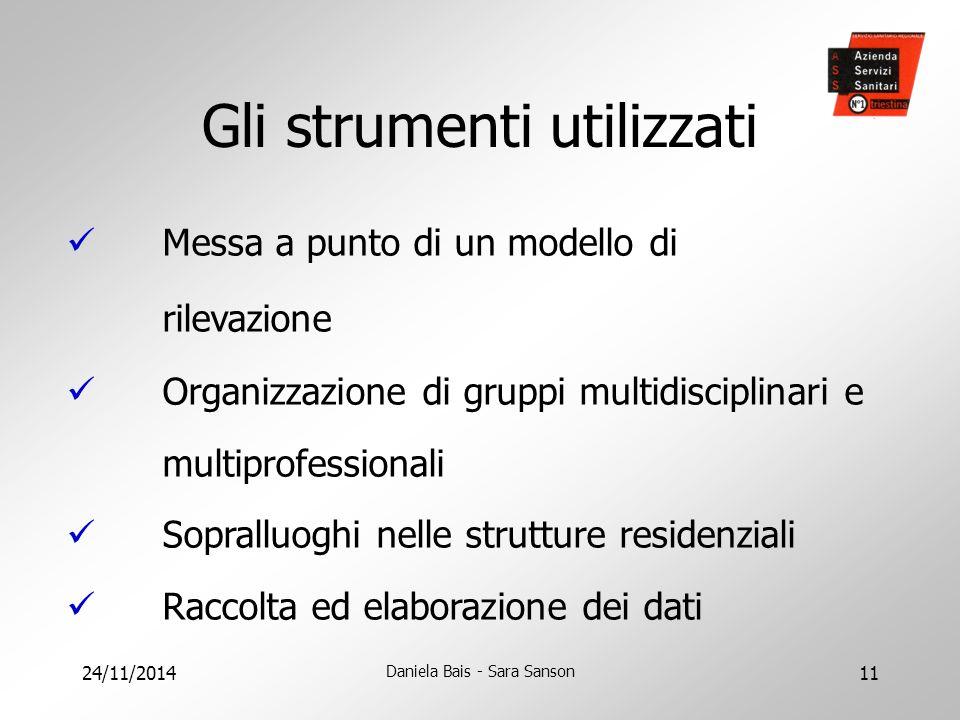 24/11/2014 Daniela Bais - Sara Sanson 11 Gli strumenti utilizzati Messa a punto di un modello di rilevazione Organizzazione di gruppi multidisciplinar