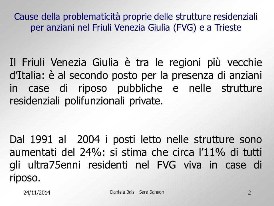 24/11/2014 Daniela Bais - Sara Sanson 2 Cause della problematicità proprie delle strutture residenziali per anziani nel Friuli Venezia Giulia (FVG) e