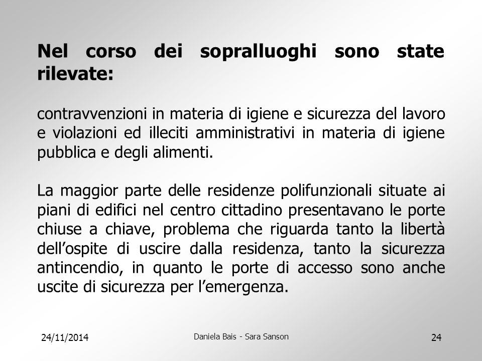 24/11/2014 Daniela Bais - Sara Sanson 24 Nel corso dei sopralluoghi sono state rilevate: contravvenzioni in materia di igiene e sicurezza del lavoro e