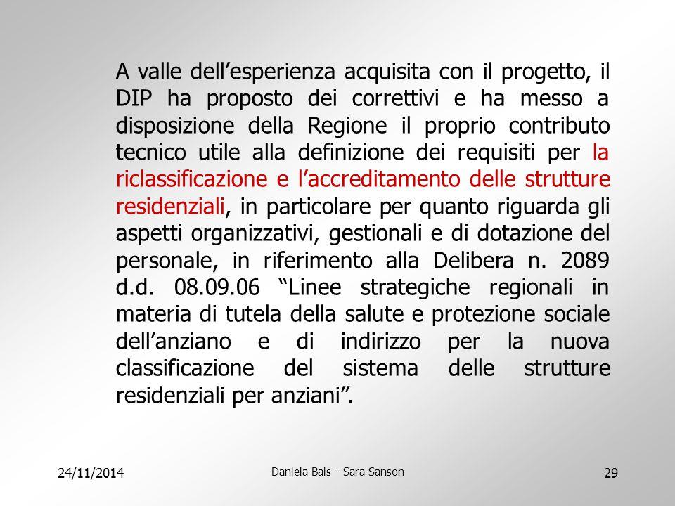 24/11/2014 Daniela Bais - Sara Sanson 29 A valle dell'esperienza acquisita con il progetto, il DIP ha proposto dei correttivi e ha messo a disposizion