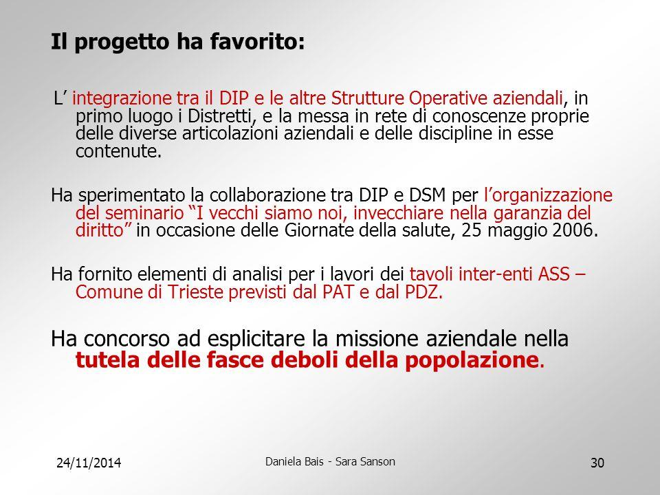 24/11/2014 Daniela Bais - Sara Sanson 30 Il progetto ha favorito: L' integrazione tra il DIP e le altre Strutture Operative aziendali, in primo luogo