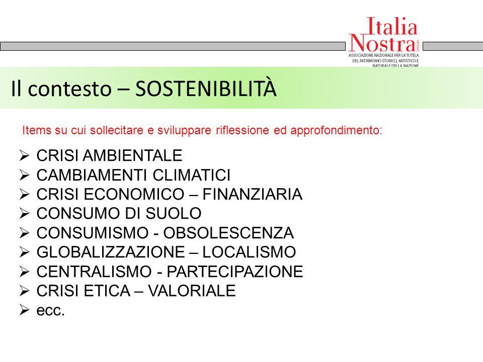 Il contesto – SOSTENIBILITÀ  CRISI AMBIENTALE  CAMBIAMENTI CLIMATICI  CRISI ECONOMICO – FINANZIARIA  CONSUMO DI SUOLO  CONSUMISMO - OBSOLESCENZA
