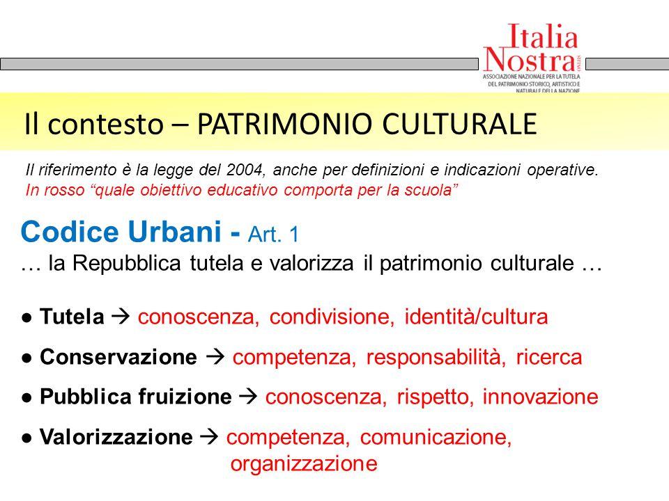 Il contesto – PATRIMONIO CULTURALE Codice Urbani - Art. 1 … la Repubblica tutela e valorizza il patrimonio culturale … ● Tutela  conoscenza, condivis
