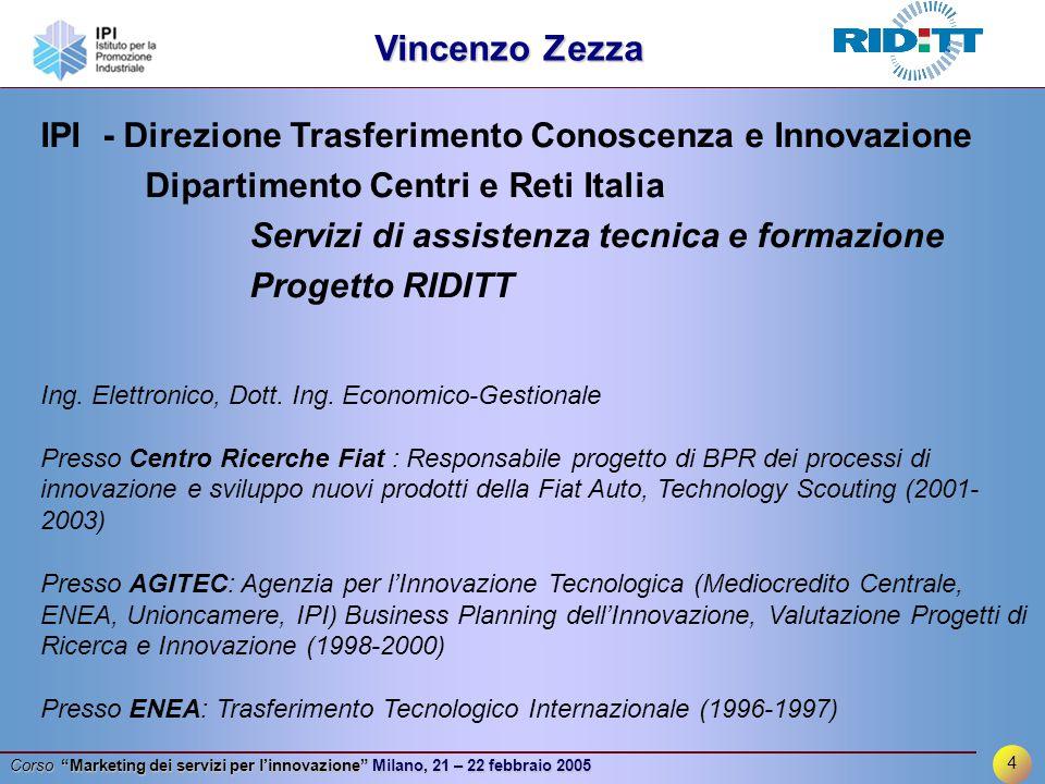 4 Corso Marketing dei servizi per l'innovazione Milano, 21 – 22 febbraio 2005 IPI - Direzione Trasferimento Conoscenza e Innovazione Dipartimento Centri e Reti Italia Servizi di assistenza tecnica e formazione Progetto RIDITT Ing.
