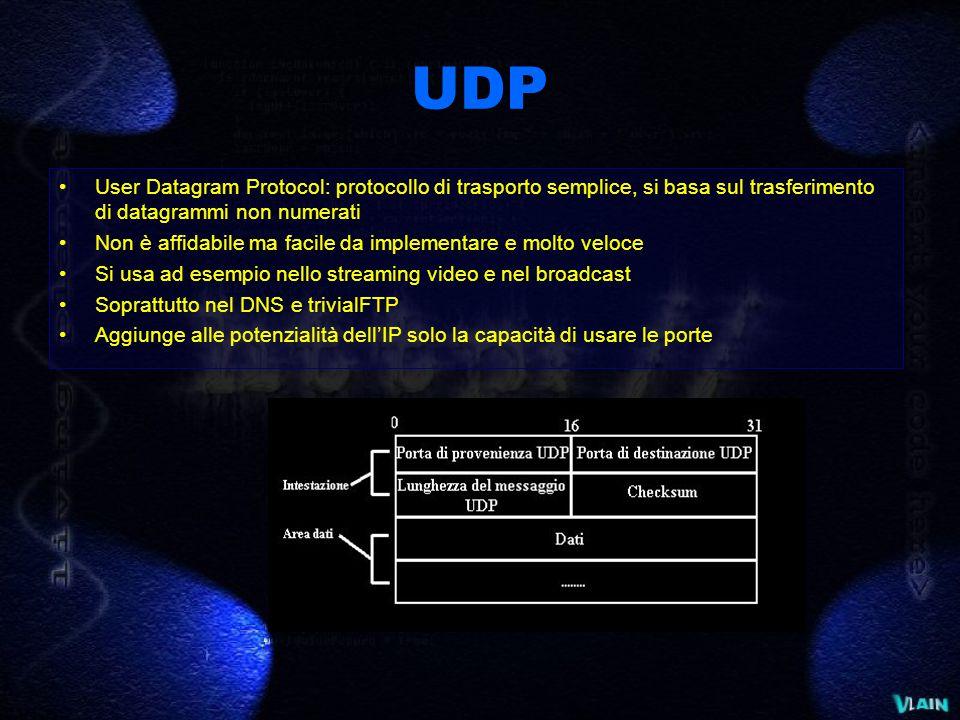 UDP User Datagram Protocol: protocollo di trasporto semplice, si basa sul trasferimento di datagrammi non numerati Non è affidabile ma facile da implementare e molto veloce Si usa ad esempio nello streaming video e nel broadcast Soprattutto nel DNS e trivialFTP Aggiunge alle potenzialità dell'IP solo la capacità di usare le porte