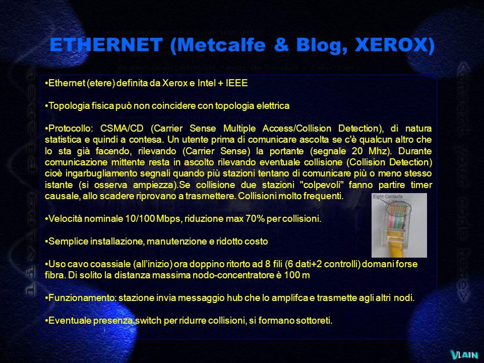 ETHERNET (Metcalfe & Blog, XEROX) Ethernet (etere) definita da Xerox e Intel + IEEE Topologia fisica può non coincidere con topologia elettrica Protoc