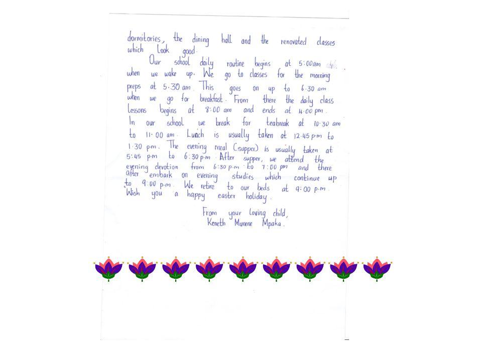 La lettera tradotta Caro sponsor genitore adottivo, ricevi i miei più cari saluti dal Kenya.Come state voi dall'altra parte.