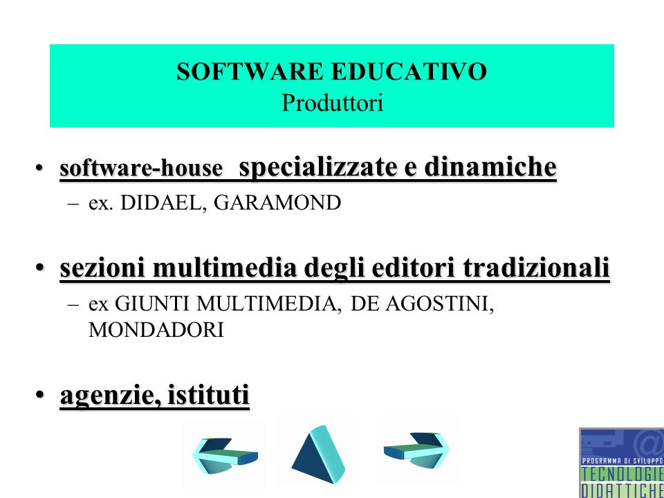 SOFTWARE EDUCATIVO Produttori software-house specializzate e dinamichesoftware-house specializzate e dinamiche –ex.