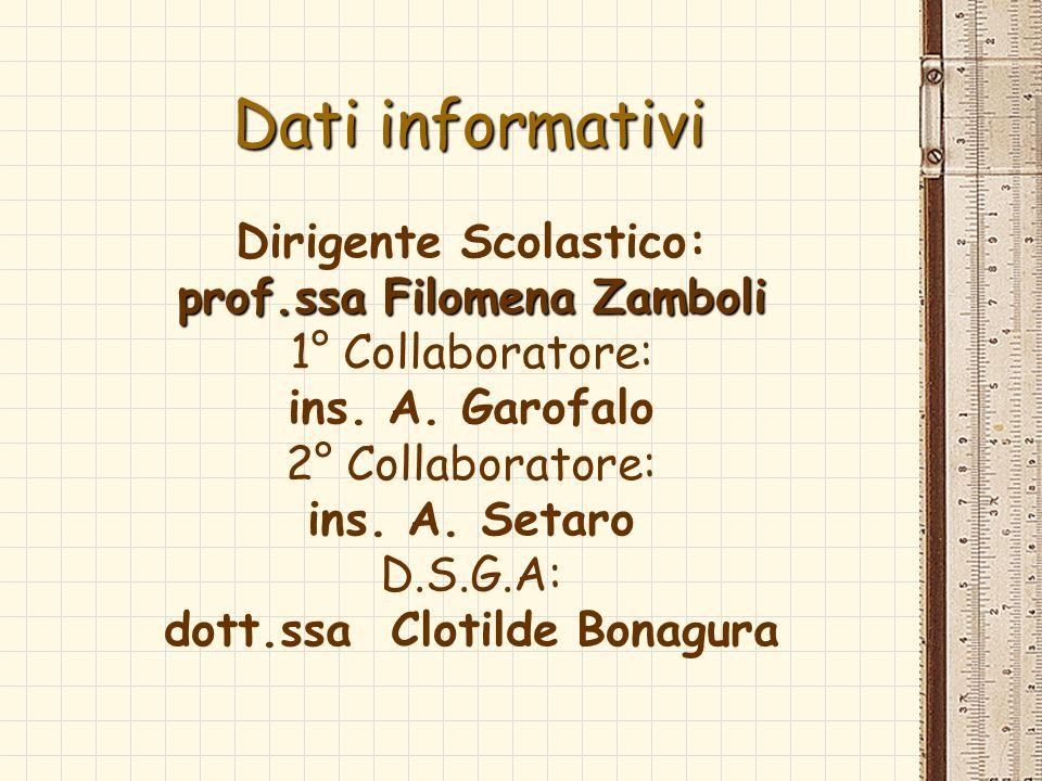 Dati informativi Dirigente Scolastico: prof.ssa Filomena Zamboli 1° Collaboratore: ins. A. Garofalo 2° Collaboratore: ins. A. Setaro D.S.G.A: dott.ssa
