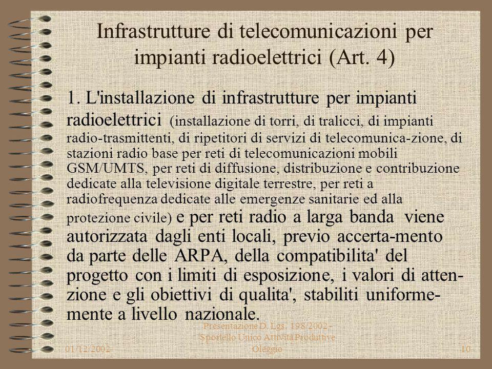 01/12/2002 Presentazione D. Lgs. 198/2002 - Sportello Unico Attività Produttive Oleggio9 Infrastrutture di telecomunicazioni (Art. 3) 2. Le infrastrut