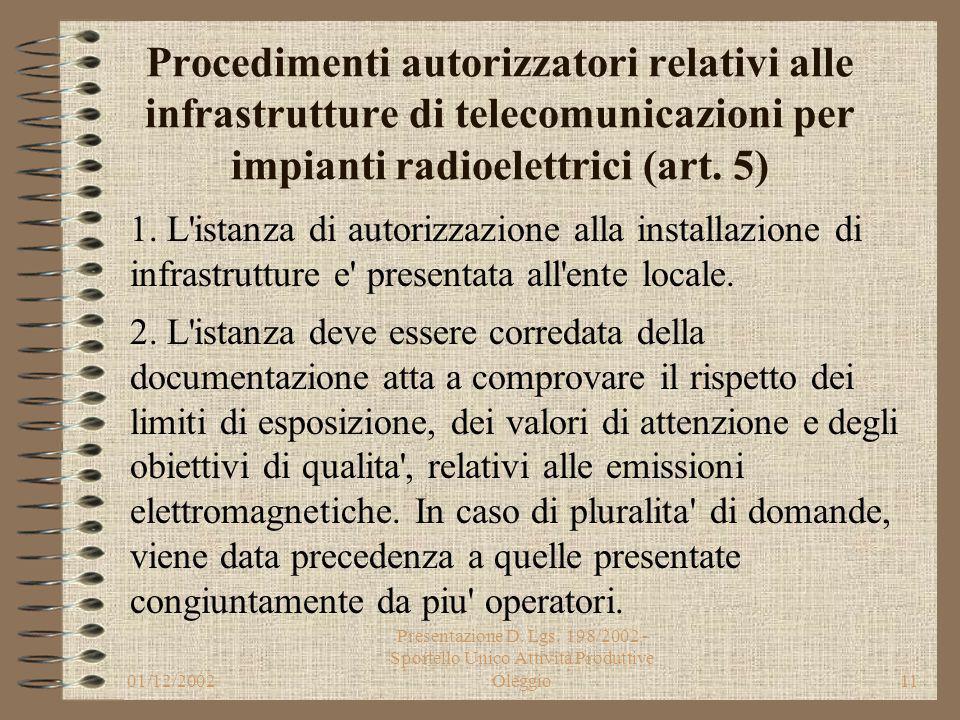 01/12/2002 Presentazione D. Lgs. 198/2002 - Sportello Unico Attività Produttive Oleggio10 Infrastrutture di telecomunicazioni per impianti radioelettr