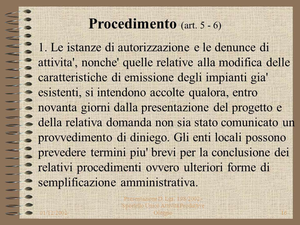 01/12/2002 Presentazione D. Lgs. 198/2002 - Sportello Unico Attività Produttive Oleggio15 6. La conferenza di servizi deve pronunciarsi entro trenta g
