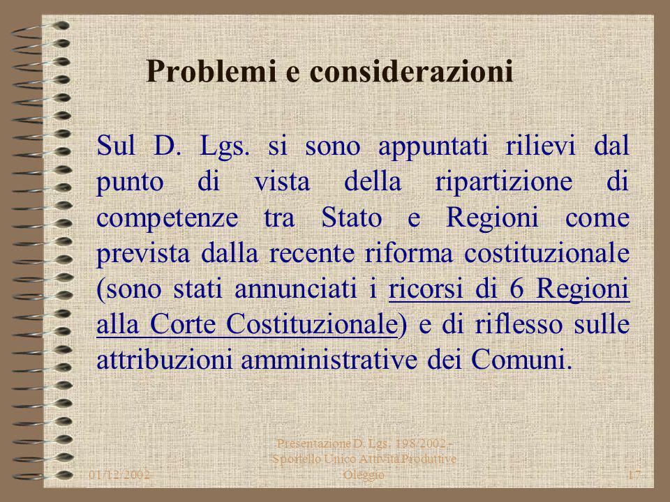 01/12/2002 Presentazione D. Lgs. 198/2002 - Sportello Unico Attività Produttive Oleggio16 1. Le istanze di autorizzazione e le denunce di attivita', n