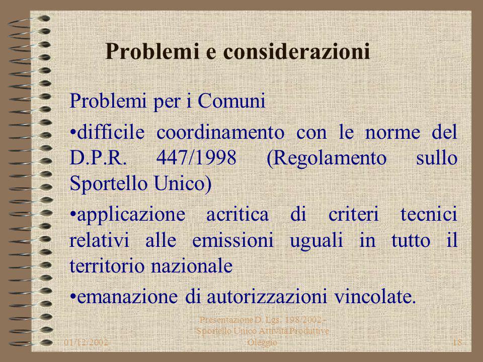 01/12/2002 Presentazione D. Lgs. 198/2002 - Sportello Unico Attività Produttive Oleggio17 Problemi e considerazioni Sul D. Lgs. si sono appuntati rili