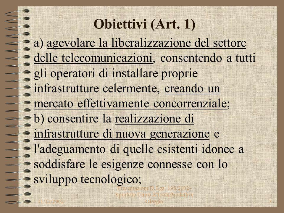 01/12/2002 Presentazione D. Lgs. 198/2002 - Sportello Unico Attività Produttive Oleggio2 Obiettivi (Art. 1) Il decreto legislativo detta principi fond