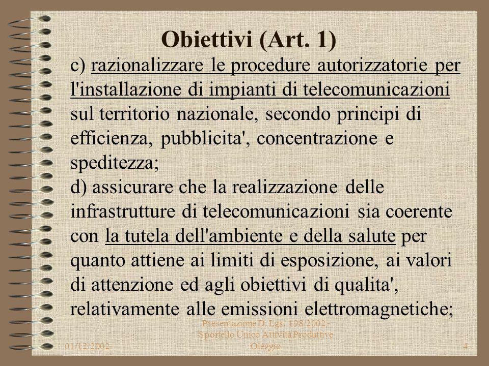 01/12/2002 Presentazione D. Lgs. 198/2002 - Sportello Unico Attività Produttive Oleggio3 Obiettivi (Art. 1) a) agevolare la liberalizzazione del setto