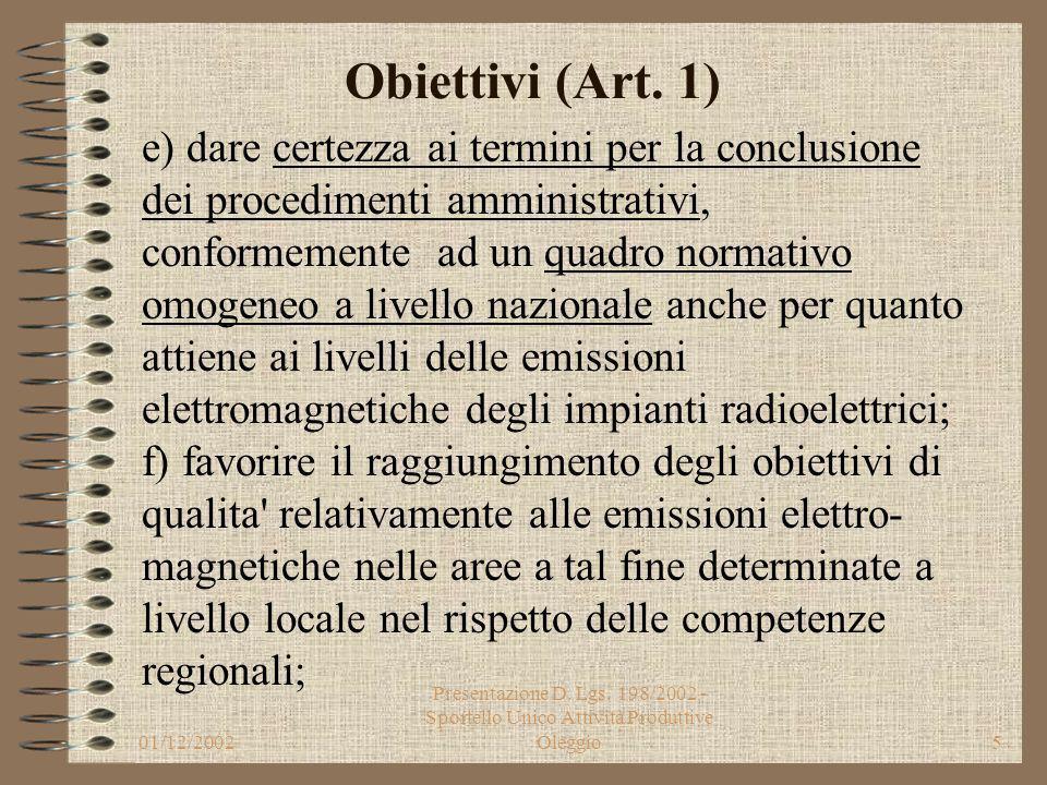 01/12/2002 Presentazione D. Lgs. 198/2002 - Sportello Unico Attività Produttive Oleggio4 Obiettivi (Art. 1) c) razionalizzare le procedure autorizzato