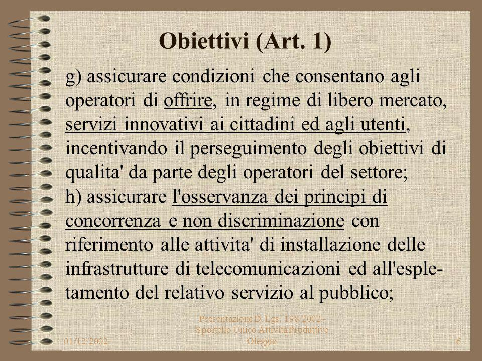 01/12/2002 Presentazione D. Lgs. 198/2002 - Sportello Unico Attività Produttive Oleggio5 Obiettivi (Art. 1) e) dare certezza ai termini per la conclus