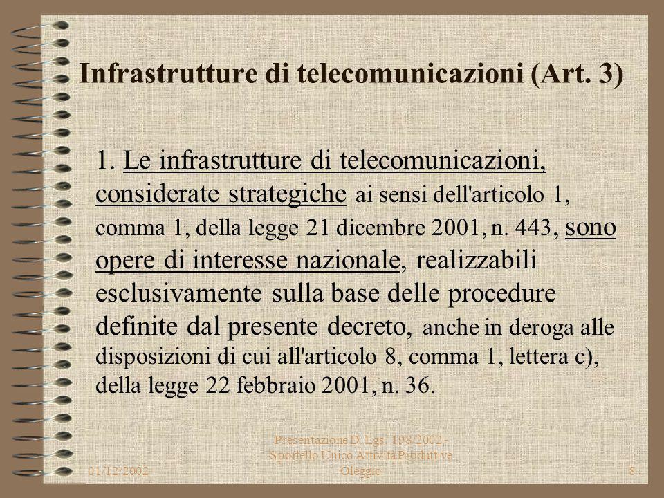 01/12/2002 Presentazione D. Lgs. 198/2002 - Sportello Unico Attività Produttive Oleggio7 Obiettivi (Art. 1) i) favorire una adeguata diffusione delle